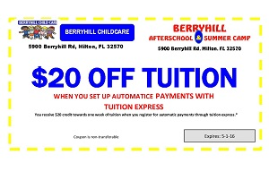 Berryhill Child Care - $20 Off Tuition Coupon