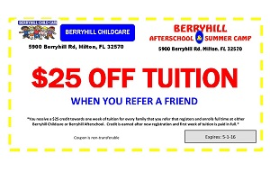 Berryhill Child Care - $25 Off Tuition Coupon