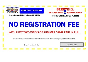 Berryhill Child Care - No Registration Fee Coupon